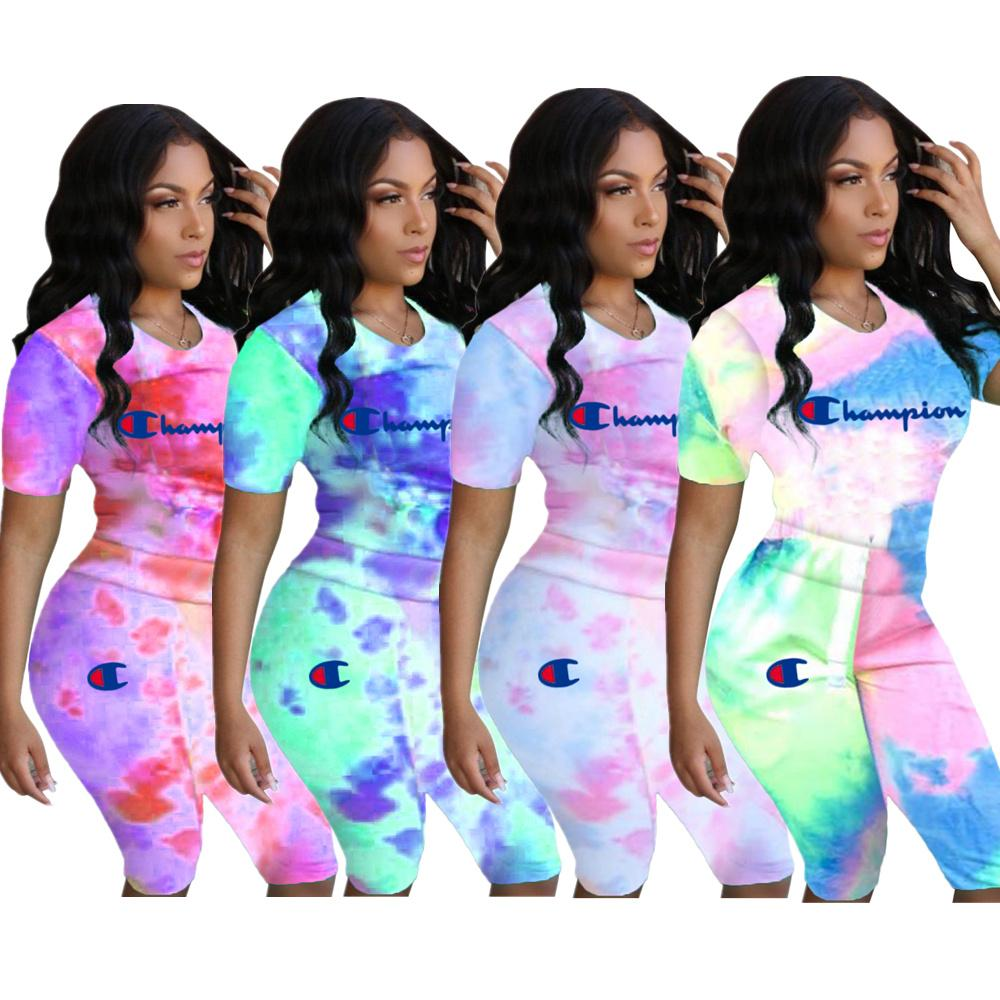 78c5bc32b0911 Tie-dye Color Champions Shorts Tracksuit Womens Summer Outfit Short Sleeve  T-shirt Shorts 2 piece Sports Suit Sportswear S-3xl Set C3286