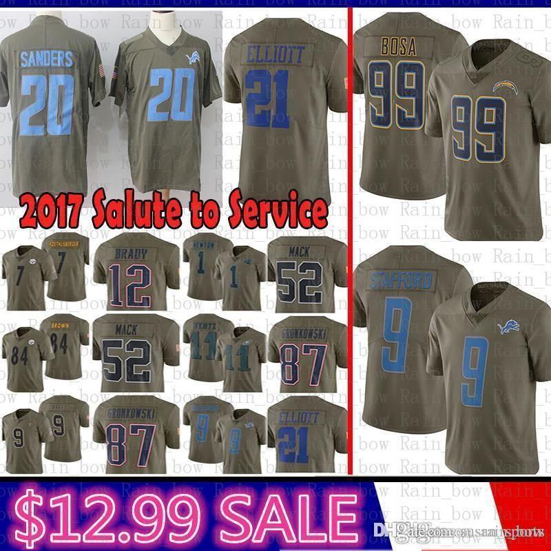online store 0a375 d09d1 best Los Angeles Chargers Jersey 99 Joey Bosa 2017 Salute to Service  Detroit Lions 9 Matthew Stafford 20 Barry Sanders Elliott Cowboys