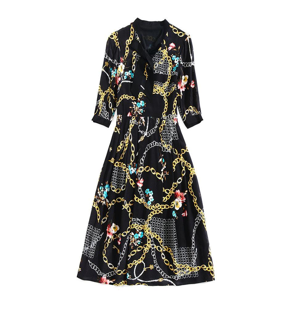2019 Spring Three-Quarter Sleeves Crew Neck Chains Floral Print Ribbon Tie-Bow Silk Mid-Calf Length Dress Luxury Runway Dresses M11H8619108