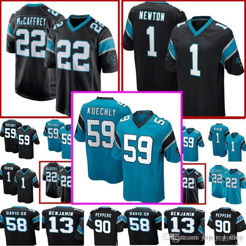 new products e6a62 4c682 #22 Christian McCaffrey Carolina Panthers 59 Luke Kuechly Jersey Men s 1  Cam Newton 13 Kelvin Benjamin 58 Thomas Davis Football Jerseys