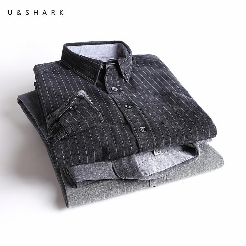a956c7c5898 2019 U SHARK Spring New Black Striped Mens Shirts Casual Business Long  Sleeved Chemise Cotton Dress Shirt Social Male Formal Shirt From Ceciliasa