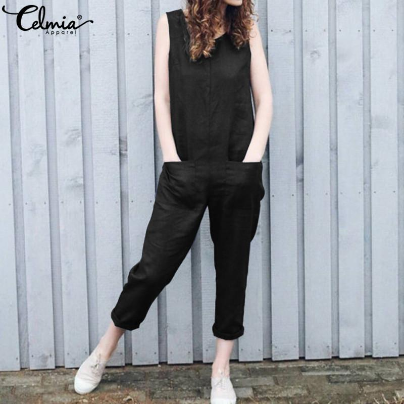 wholesale Women Cotton Linen Jumpsuits 2019 Summer Sleeveless Rompers Casual Overalls Harem Pants Playsuit Plus Size Pantalon Femme