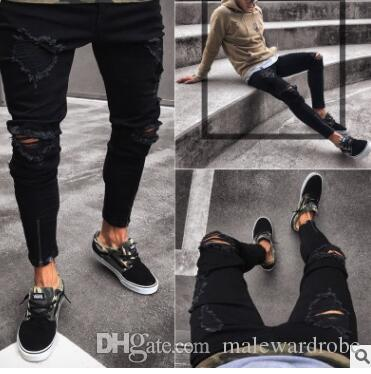 0eecf088f 2019 Mens Black Ripped Hiphop Jeans Fashion Clothing Zipper Designer Pencil  Pants Slim Fit Trousers From Malewardrobe, $68.09 | DHgate.Com