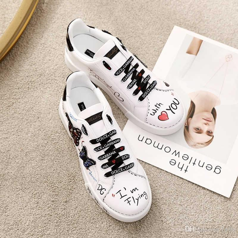 New women luxury designer printed calfskin sneakers patchwork and embroidery fashion casual hiking shoes calfskin insole top quality with bo