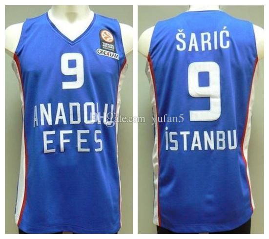 half off 433ad 0cf56 Dario Saric #9 Anadolu Efes Istanbul Retro Basketball Jersey Mens Stitched  Custom Any Number Name Jerseys