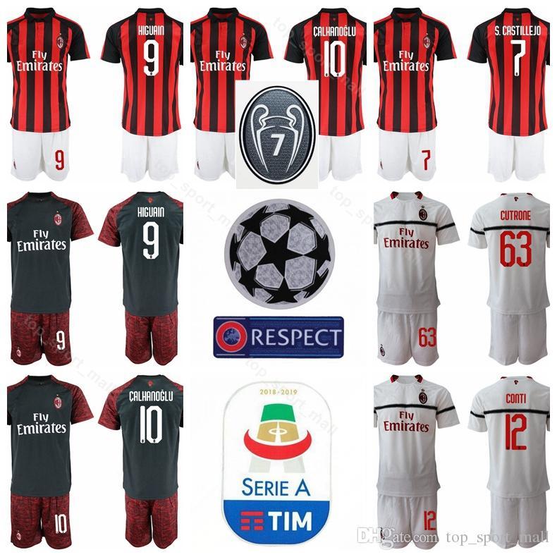 5476e641bd3 2018 2019 AC Milan Soccer 10 Hakan Calhanoglu Jersey Set Men 7 ...