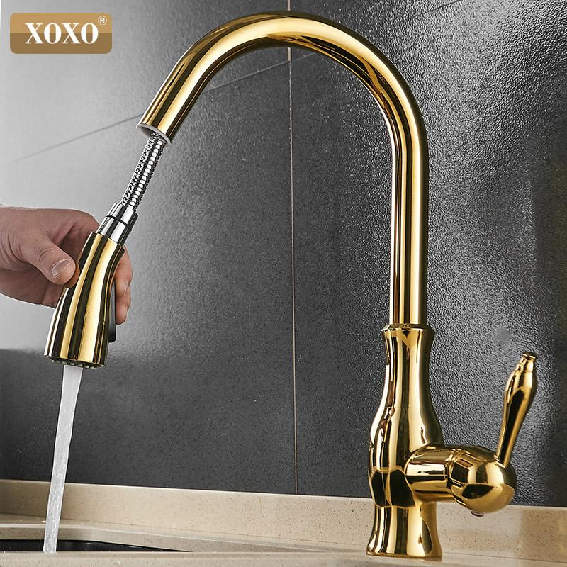 Kitchen Faucets.Xoxo Kitchen Faucet Pull Out Side Cold And Hot Single Hole Handle Swivel 360 Degree Water Mixer Tap Mixer Tap 83034g