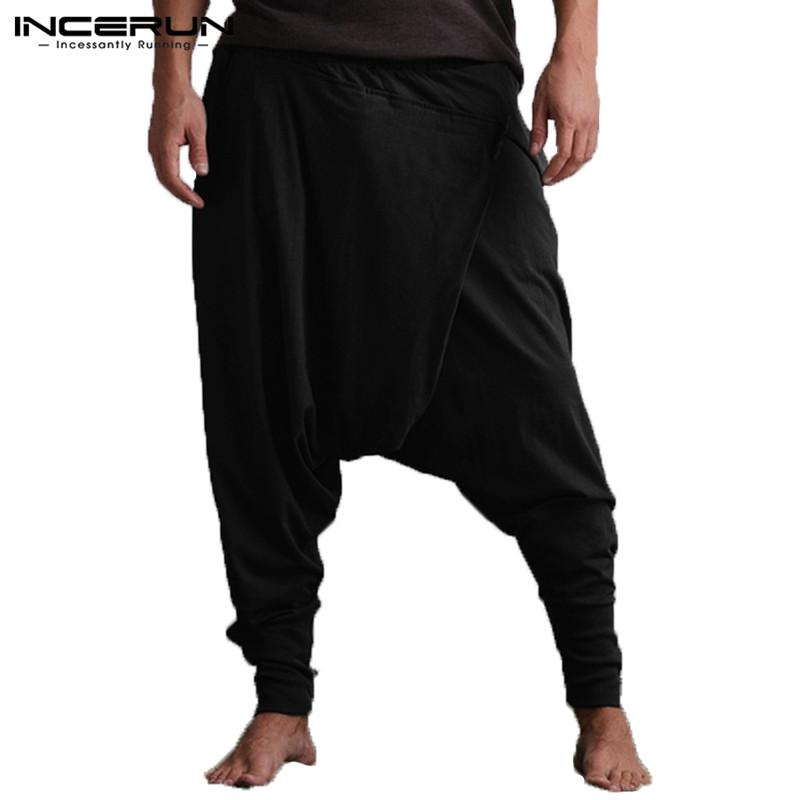 Men Harem Pants Joggers Drop Crotch Solid Color Pockets Hip Hop Trousers  Men Loose Casual Pants Yoga Pants Plus Size INCERUN UK 2019 From Balljoy 4f6211da4b5