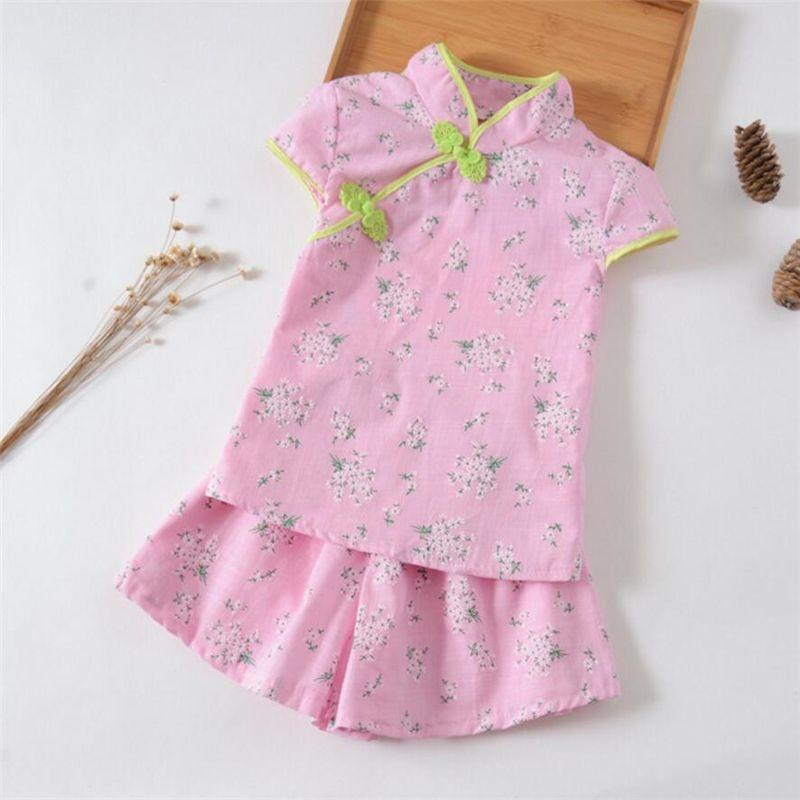 1464463d1 good quality baby girls summer clothes set children fashion Chinese style  Cheongsam top t-shirt + shorts 2pcs set kids clothing suit
