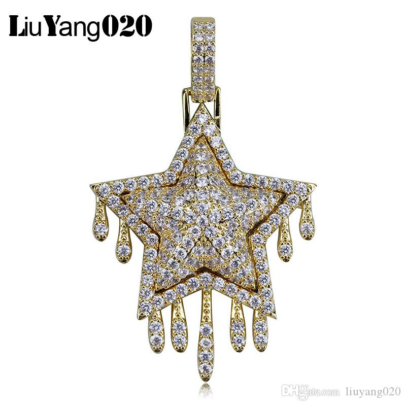 Drip Star Pendant Necklace Chain Free Rope Chain Gold Silver Color Bling Cubic Zircon Men's Women Hip hop Jewelry For Gift
