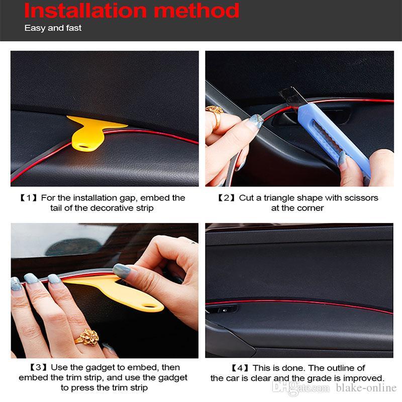 Tiras de carro Universal DIY Flexível Decoração Interior Molding Guarnição Tiras de Controle Central Do Carro e Porta Tiras de Decoração Anti-colisão