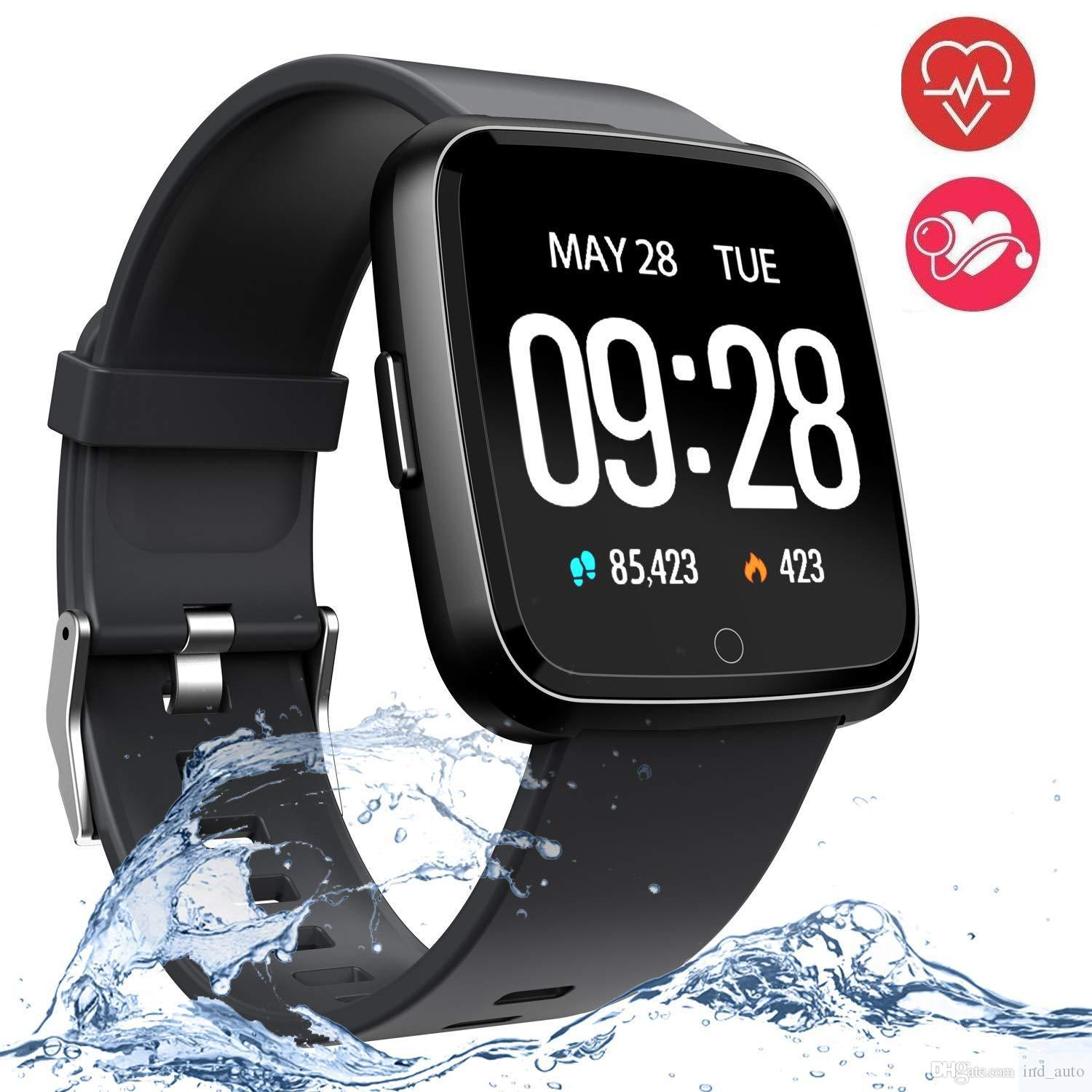 1.3 Inch Touch Screen Smart Watch IP67 Waterproof Sport Bracelet Motion Record Blood Pressure Heart Rate Monitor Smartwatch For IOS Andriod