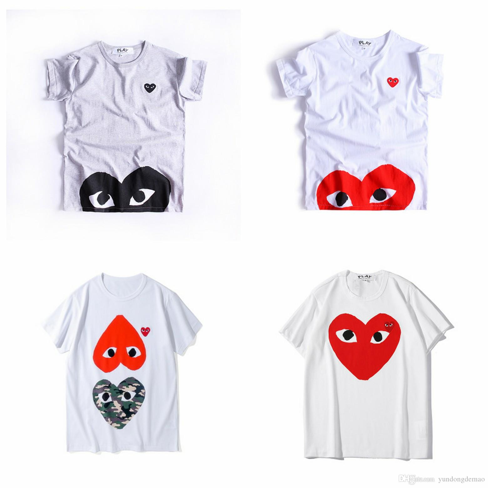 Lover Best Quality HOLIDAY White Green deformation Heart Emoji PLAY TEE Limited Big Red Heart Splashing PLAY Tee