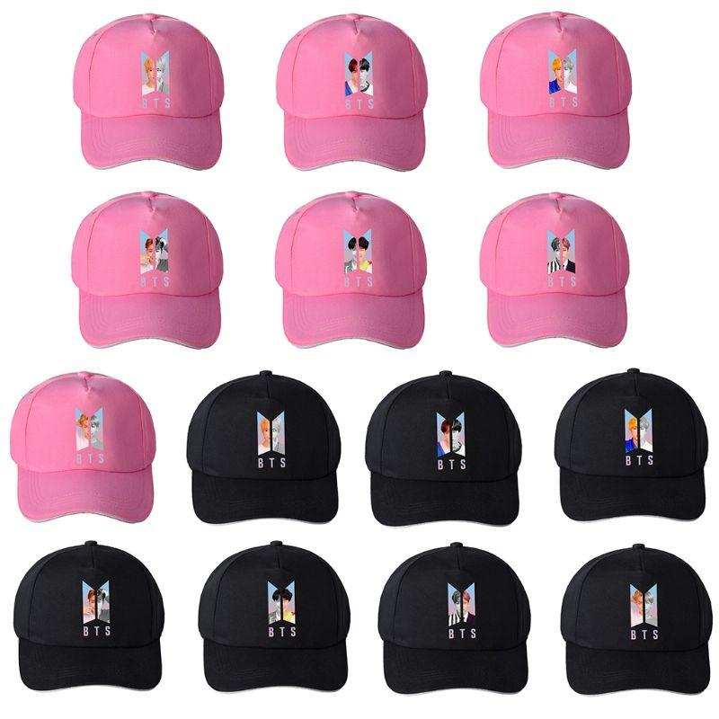 Unisex Canvas Baseball Cap Kpop Colored BTS Members Portraits Printed Adjustable Magic Sticker Snapback Hat Hip Hop 14 Styles