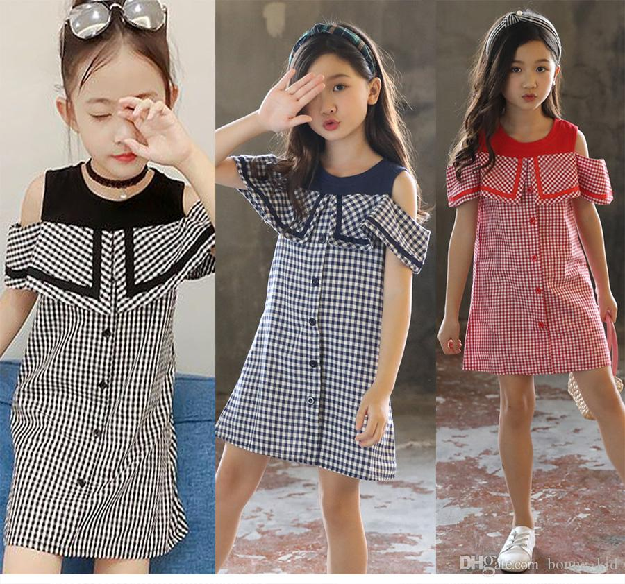 4ce43008a0f 2019 Summer Kid Girls Off Shoulder Plaid Dresses Children Party Princess  Dress Sweet Baby Clothing Cute Fashion Kids Girl Clothes From Bonne kid