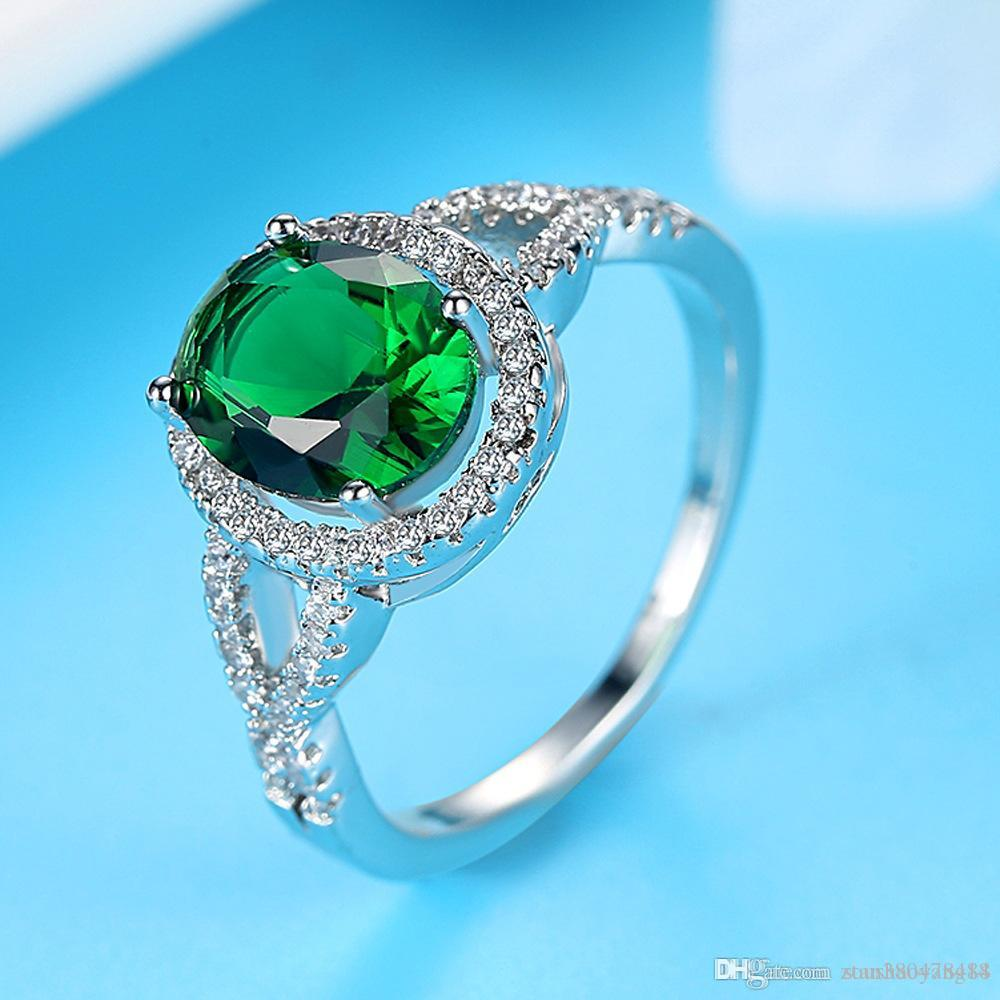 2019 Europe And The United States Party Ring Female Emerald Green Zircon Engagement Oval Hand Jewelry Hot Accessories From Zoushaoyang18: Aqua Green Wedding Rings At Websimilar.org