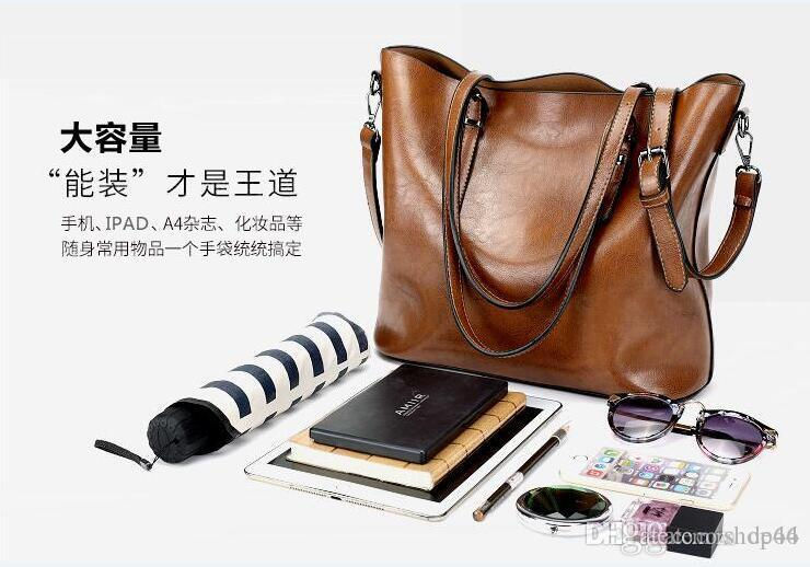 Famous Brand Handbag Women PU Leather Shoulder Bags Casual Large Capacity Top-Handle Bucket Bag Simple Style Solid Totes Zipper Business