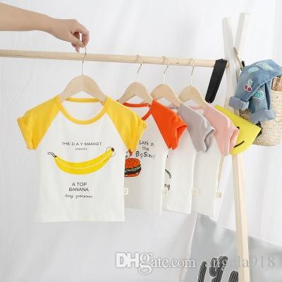 Medium and small children's 5975 printed short-sleeved T-shirt Summer tide top Comfortable skin-friendly breathable V033
