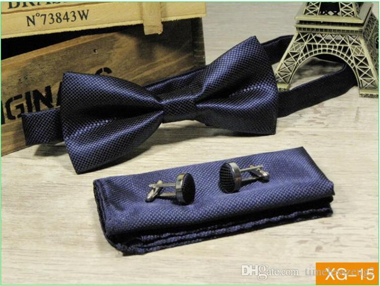 Solid Bow Ties Set Mens Fashion Bowtie Handkerchief Cufflinks Sets Tuxedo Accessories For Wedding Party Business Suit