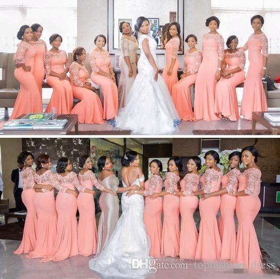 Hot Sale Coral Mermaid Bridesmaid Dresses with 3/4 Long Sleeves Lace Applique Scoop Neck Sweep Train Country Wedding Guest Evening Gowns