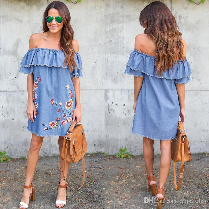 Embroidered loose strapless sexy short skirt ruffled sleeve denim dress