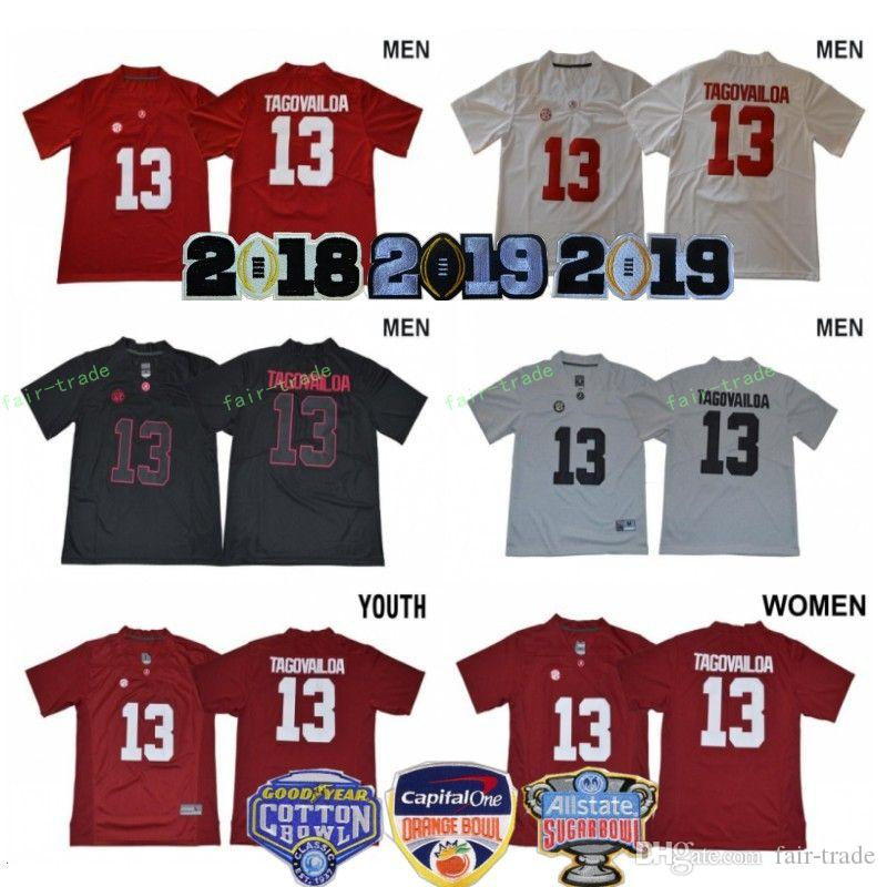 f287b6f44 2019 Men Women Kids Tua Tagovailoa Jerseys Woman 13 Alabama Crimson Tide  2018 Sugar 2019 Orange Bowl Patch Man Youth Football College Red White From  Fair ...