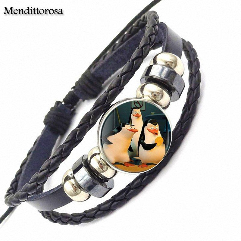 EJ Glaze The Penguins Of Madagascar For Women Wedding Steampunk Jewelry Glass Cabochon Black Leather Bracelet Bangle