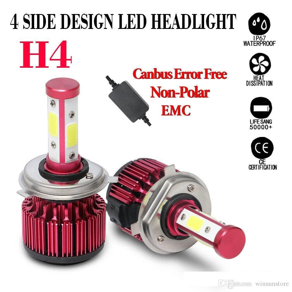 winsun 2pcs H4 HB2 9003 120W 32000LM Bombillas de faros LED COB LED de 4  lados Hi / Lo haces 6000K