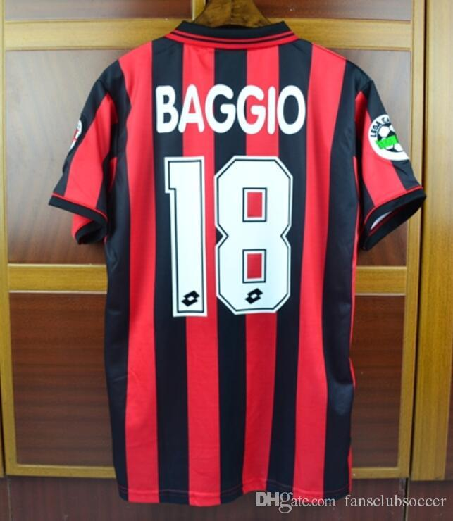 2019 Italy 96 97 Milan Home Red Retro Soccer Jersey Roberto Baggio Vintage  1996 1997 Retro Football Shirt From Fansclubsoccer 6a637117a