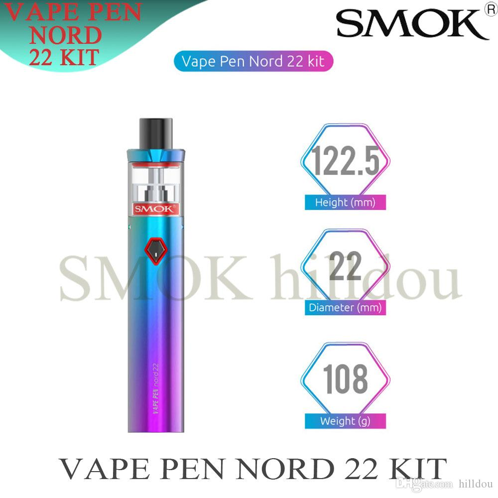 SMOK Vape Pen Nord 22 Kit with 3.6ml Tank Built-in 2000mAh Battery Special Coil Head Holder One Button Operation Device 100% Authentic