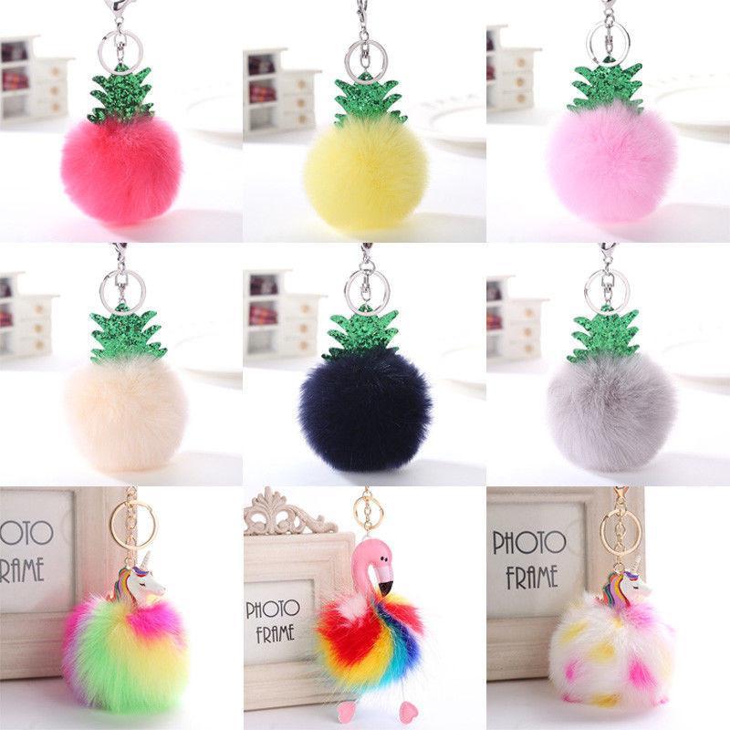 Mignon Tassel de décorations de Noël pendentif femme fourrure Fuzzy boule Pompon Keychain mignon sac charme Porte-clés