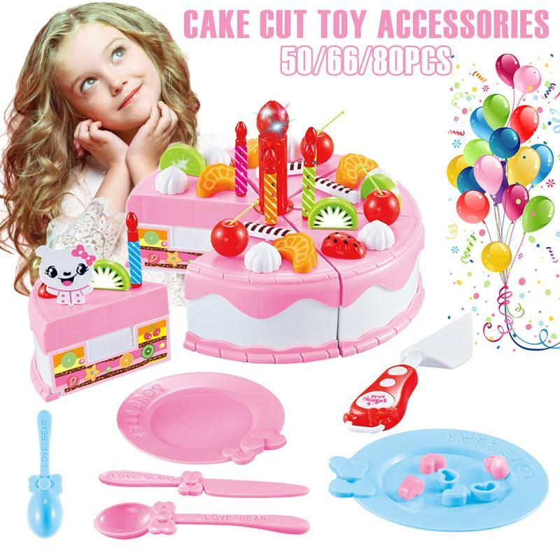 wholesale Assembling Practicing Intelligence Doll Pendant Pretend Role Play Kitchen Toy Happy Birthday Cake Food Cutting Set