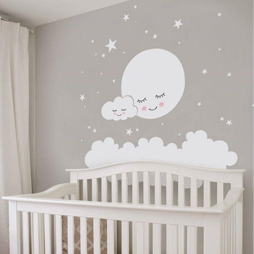 Mond Wolken und Sterne Wandtattoo Vinyl selbstklebend große dekorative  Aufkleber Wandbild für Kinderzimmer und Kinderzimmer Dekoration
