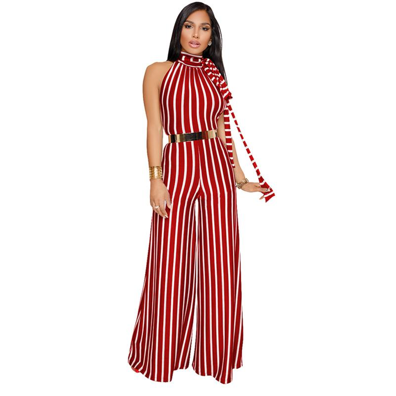 7212abec2d7 2019 Elegant Women Striped Jumpsuit Sleeveless Backless Wide Leg Pants 2019  Hot Summer Beach Casual Sexy Romper Clothes For Women From Mantle
