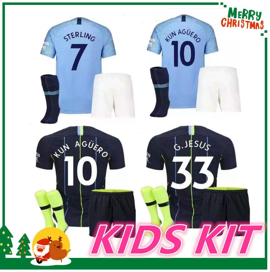 6a770001a50 2019 18 19 Manchester KIDS KIT KUN AGUERO Jersey 2018 2019 KOMPANY SILVA  STERLING DE BRUYNE G JESUS GUNDOGAN Soccer Jersey Football Shirt From  Kongjunlin