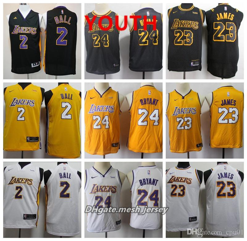 newest f661a d21b2 Youth Los Angeles Jersey Lakers LeBron James All Lonzo Ball Kobe Bryant  Stitched Baketball Jersey