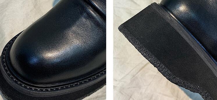 Designer femmes coincent Heighten Bottes cloutées noir Martin Bottes Véritable bout rond en cuir de luxe zip Angleterre de style Lady Fashion Bottines