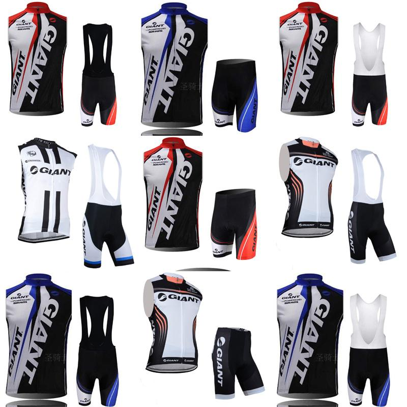 GIANT team Cycling Sleeveless jersey Vest (bib)shorts sets New spring and summer cycling suits Mountain Bike Wear Outdoor Sportswear c2116