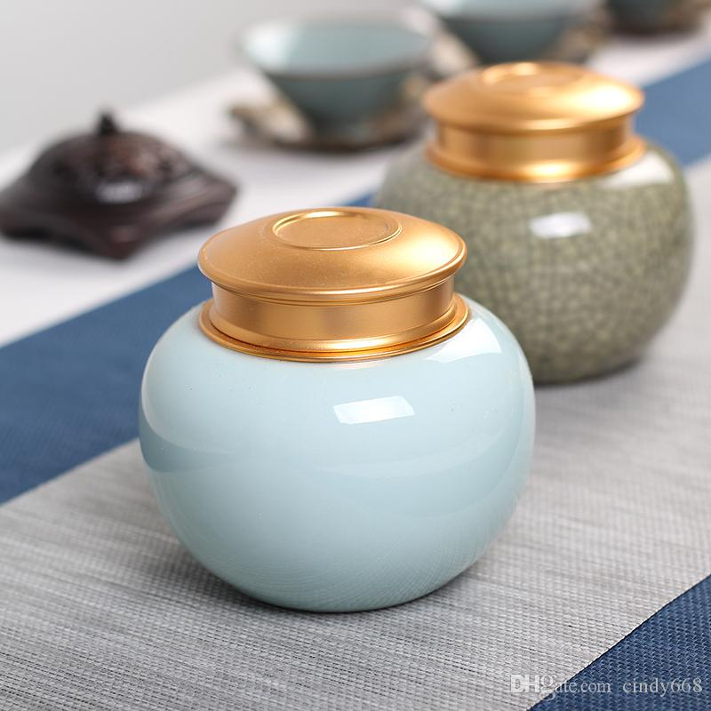 Multifunctional Round Container Mini Tea Box Portable Tea Set Kitchen Sealed Ceramic Storage Box Coffee Candy Jars Gift Box