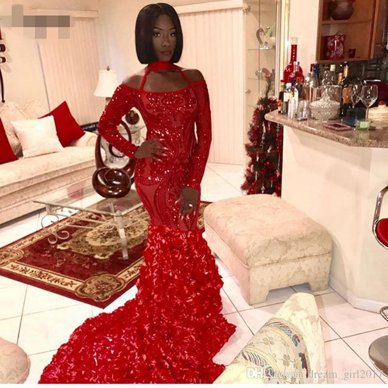 Sparkly Long Sleeve Mermaid Prom Dress Style Halter African Black Girl Red Sequin Women Long Evening Dresses 2019 With Flowers