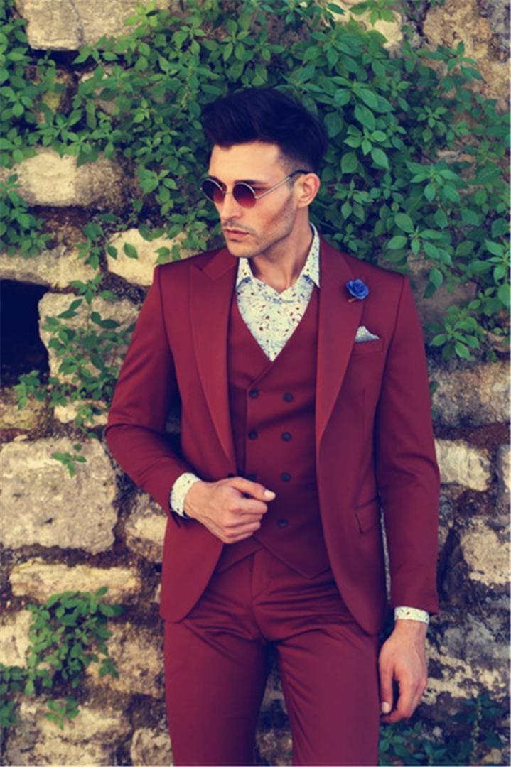 huge selection of fb1c9 e53e3 3-teiliger Anzug-Anzug-Hochzeitsanzug-Bräutigam der eleganten Männer trägt  Spitzen-Revers-Smoking (Jacke Hose Weste Tie) 2019 Neu