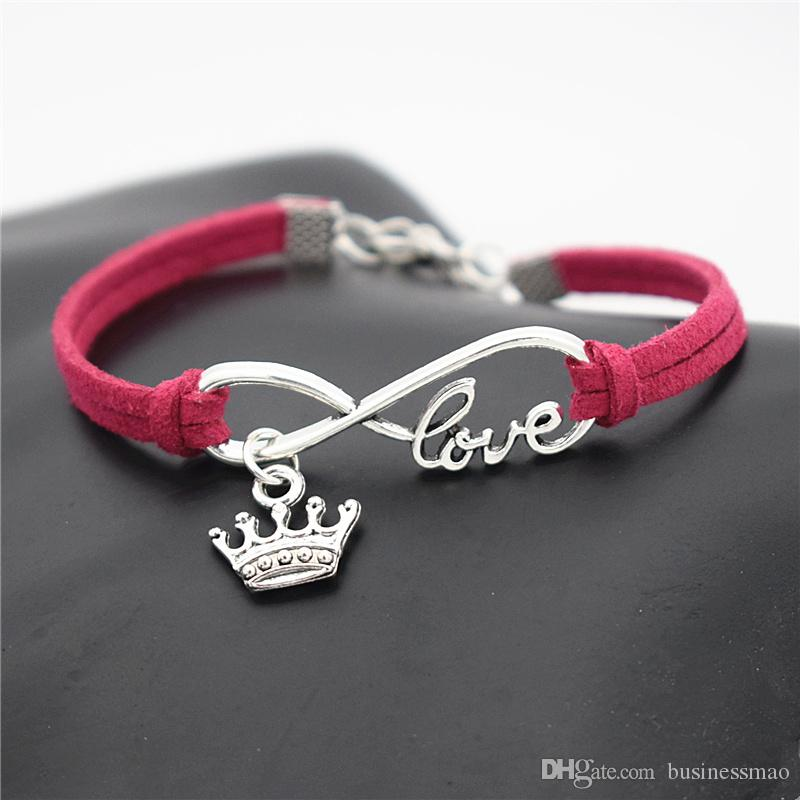 2019 Fashion Infinity Love Imperial Crown Pendant Charm Bracelets for Women Men Vintage Red Leather Suede Rope Wedding Party Costume Jewelry