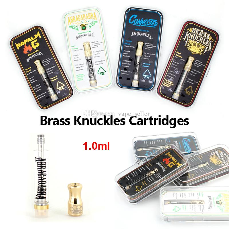 Brass Knuckles Ceramic Cartridges 1ml Empty Vape Pen Cartridges Dab Pen Oil Wax Vaporizer E Cigarette 510 Thread Battery With Flavor Sticker