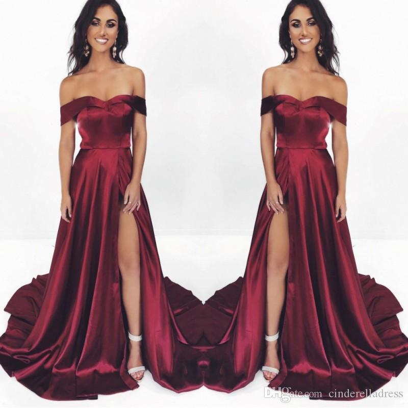 Burgundy Sexy Off Shpulder A-line Prom Dresses 2020 New Hide Side Split Formal Party Gowns Cheap Evening Bridesamid Dresses BM0914