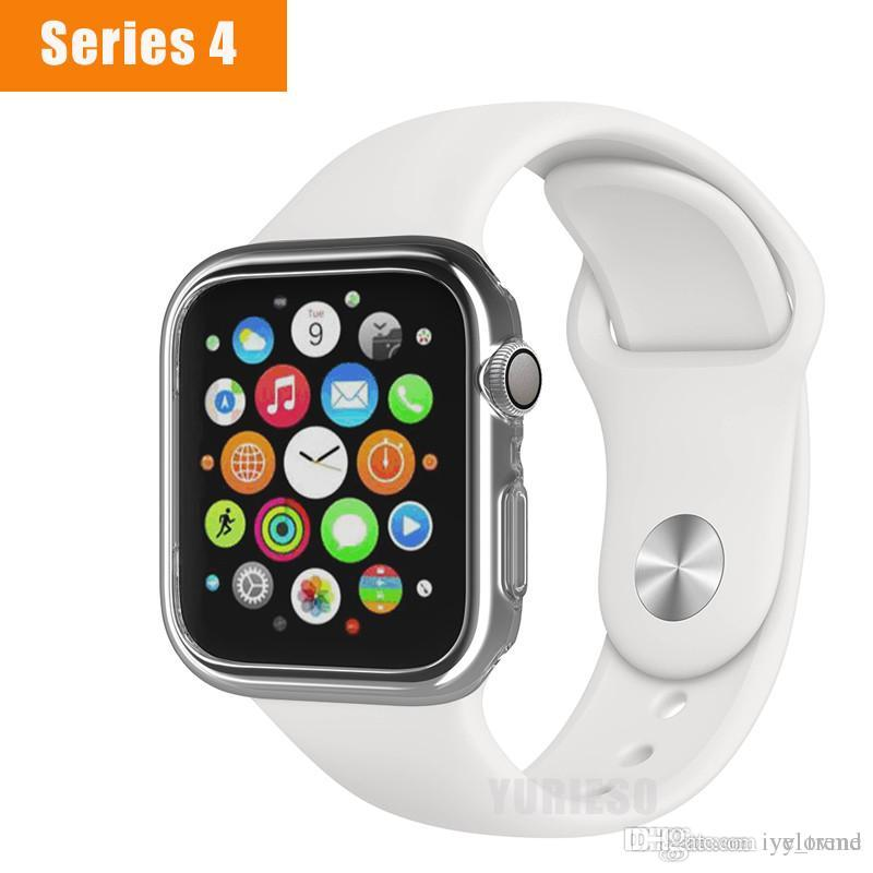 best service 484f7 f2365 Soft TPU Protector Case for Apple Watch Series 4 Clear Bumper Cover for  Apple Watch iWatch 40mm 44mm Accessories
