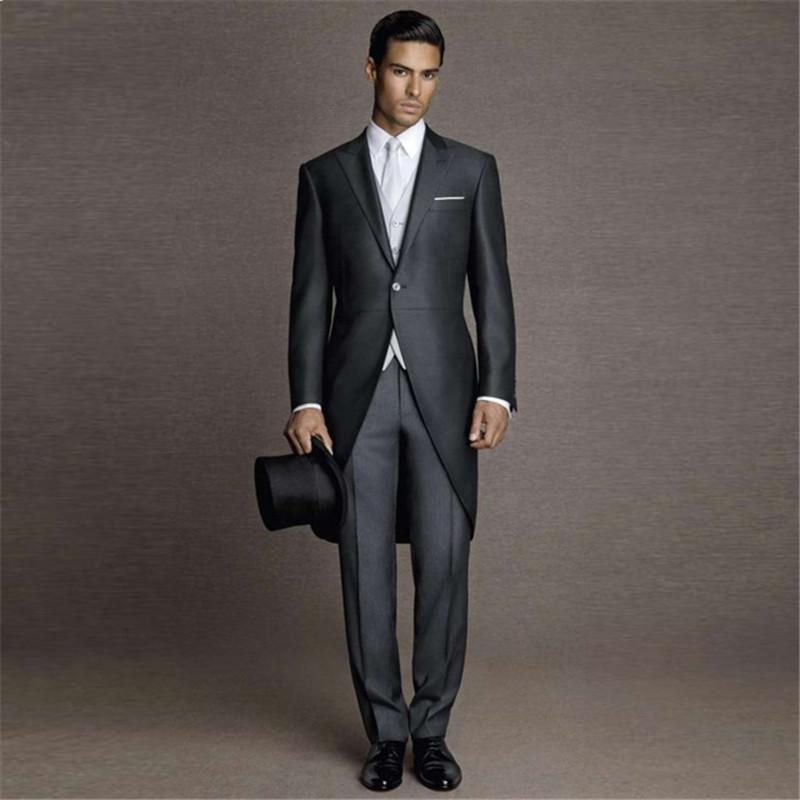 Tailored Made Customize Black Morning Tailcoat Formal Men Suit Wedding Mens Blazer Tuxedo Morning Man Suit Party 3 Pieces