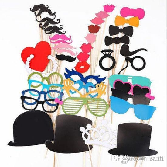 Festive Set of 44 Photo Booth Prop Mustache Eye Glasses Lips on a Stick Mask Funny Wedding Party Photography