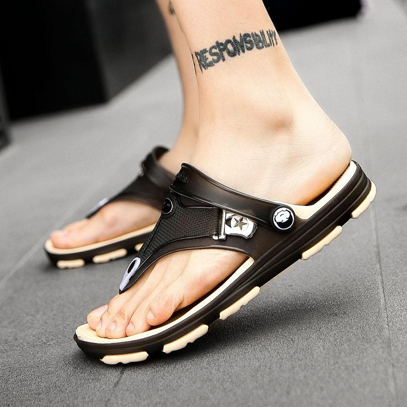 370901e64215 YRRFUOT Summer New Non Slip Man Beach Sandals Fashion Men S Flip Flops  Outdoor Trend Casual Shoes High Quality Light Flats Black Boots For Women  Red Boots ...