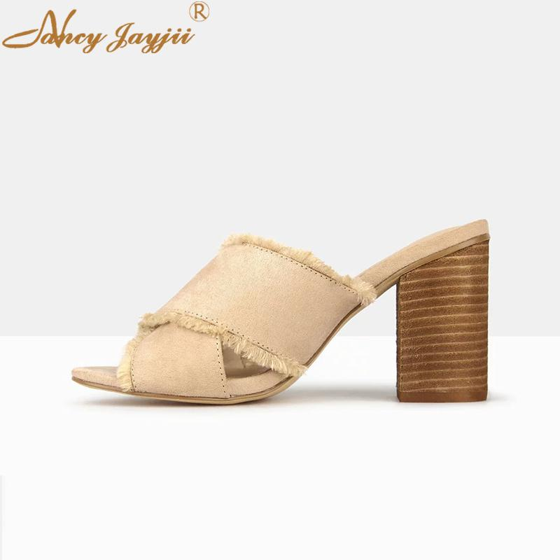 6ed5f0c04 Nancyjayjii Block 2019 Spring Mules Solid Ladies Woman Slipper Shoes  Outside High Heels Fashion Plus Size 42 Dress Party Casual Cheap Shoes  Riding Boots ...