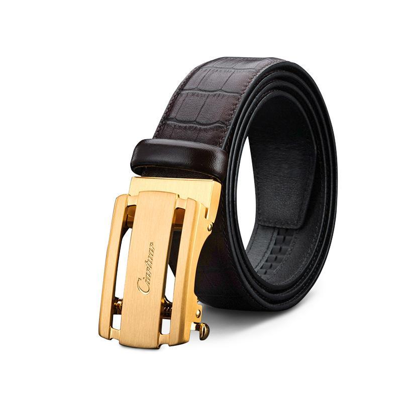 ab97b426120c Compre Cinturones De Cuero Genuino De Marca Famosa Para Hombres Top Cinturón  De Hebilla De Cobre De Lujo Negocios Correa Accesorios Envío Gratis A   32.49 ...